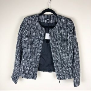 Premise black and white blazer with front zipper